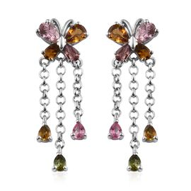 Rainbow Tourmaline (Pear) Dangle Butterfly Earrings (with Push Back) in Platinum Overlay Sterling Si