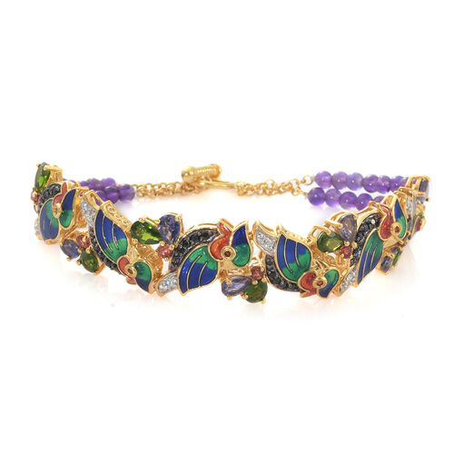 GP 15.50 Ct Russian Diopside and Multi Gemstone Bracelet in Gold Plated Silver