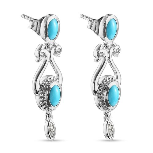 AA Arizona Sleeping Beauty Turquoise and Natural Cambodian Zircon Dangling Earrings (with Push Back) in Platinum Overlay Sterling Silver 1.83 Ct.