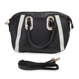 New Season- Colour Blocking Handbag (24x28x11) With Removable Strap - Black