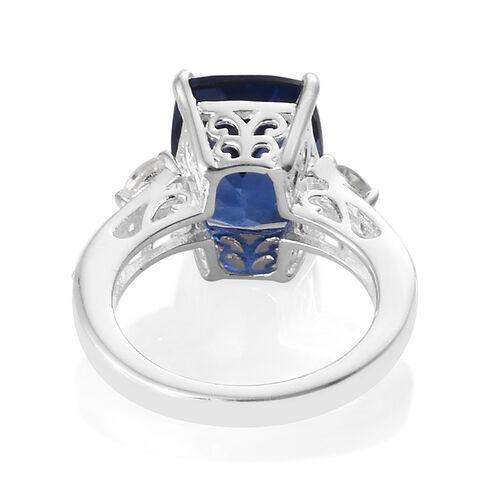Ceylon Colour Quartz (Cush 5.50 Ct), White Topaz Ring in Sterling Silver 6.000 Ct