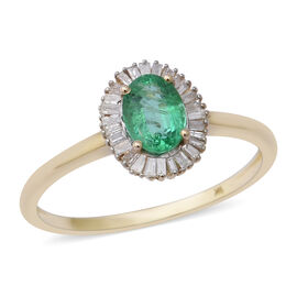 1 Carat AA Zambian Emerald and Natural Diamond Halo Ring in 9K Gold
