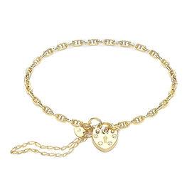 Heart Padlock Bracelet in 9K Yellow Gold 7.5 Inch