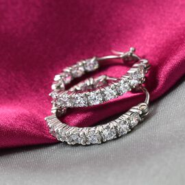 J Francis Platinum Overlay Sterling Silver Hoop Earrings (with Clasp) Made with SWAROVSKI ZIRCONIA 4.80 Ct.