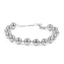 RACHEL GALLEY Rhodium Plated Sterling Silver Globe Bracelet (Size 8), Silver wt 21.56 Gms.
