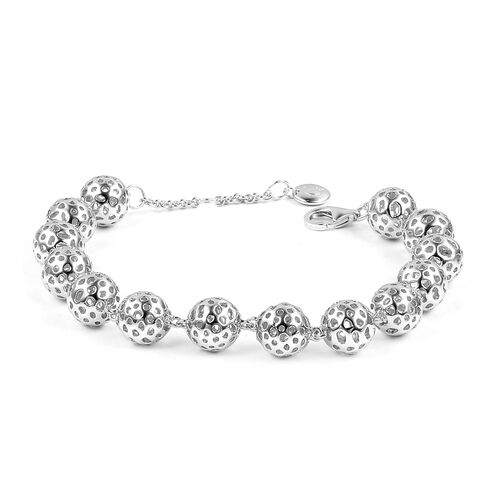 RACHEL GALLEY Globe Bracelet in Rhodium Plated Silver 21.56 Grams Size 8 Inch