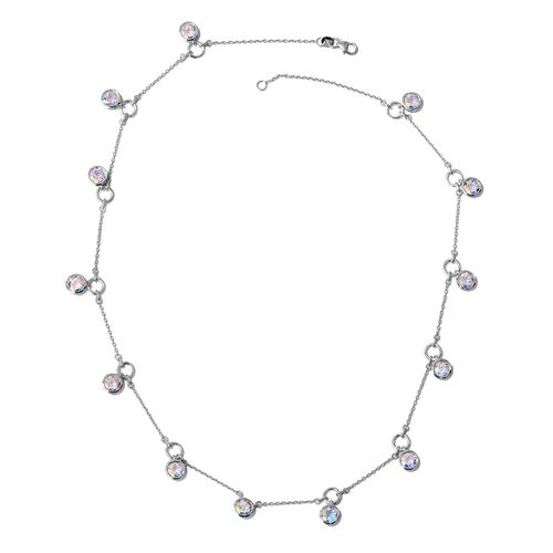 Mercury Mystic Topaz (Rnd) Necklace (Size 20) in Platinum Overlay Sterling Silver 12.000 Ct. Silver wt 10.00 Gms.
