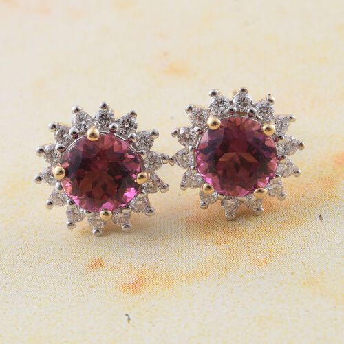 ILIANA 18K Yellow Gold AAA Rare Size Ouro Fino Rubelite (Rnd 1.75 Cts), Diamond (SI/G-H) (0.50 Cts) Earrings with Screw Back 2.250 Ct.