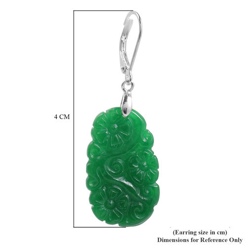 Carved Green Jade Floral Earrings (with Lever Back) in Sterling Silver 34.00 Ct.