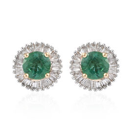 ILIANA 18K Yellow Gold AAA Kagem Zambian Emerald (Rnd) Diamond Stud Earrings (with Screw Back) 1.200 Ct.