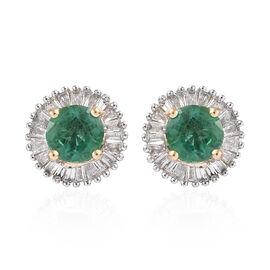 ILIANA 1.2 Ct AAA Zambian Emerald and Diamond Halo Stud Earring in 18K Gold 1.96 Gms With Screw Back