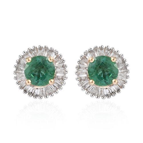 ILIANA 18K Yellow Gold AAA Kagem Zambian Emerald (Rnd) Diamond Stud Earrings (with Screw Back) 1.200 Ct.