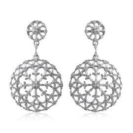 1 Carat Diamond Drop Earrings in Platinum Plated Sterling Silver 5.20 Grams