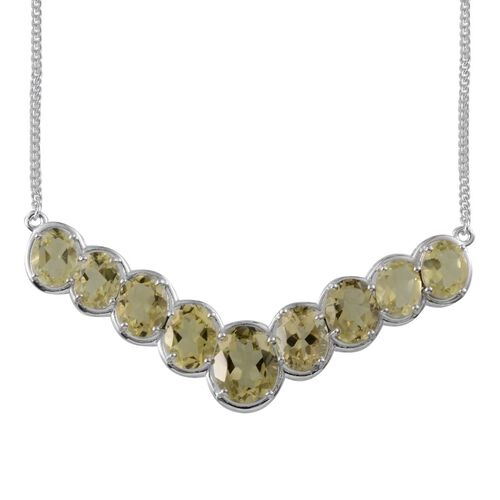 Brazilian Green Gold Quartz (Ovl 4.50 Ct) Necklace (Size 18) in Platinum Overlay Sterling Silver 20.500 Ct.