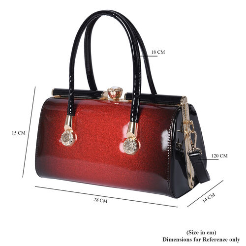 BOUTIQUE COLLECTION Red and Black Barrel Style Bag with Detachable and Adjustable Shoulder Strap (Size 28x14x15 Cm)