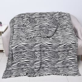 Soft Coral Fleece Zebra Pattern TV Blanket with Sleeves and Pocket (Size 140x180 Cm) - Black and Whi