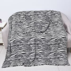 Soft Coral Fleece Zebra Pattern TV Blanket with Sleeves and Pocket (Size 140x180 Cm) - Black and White Colour