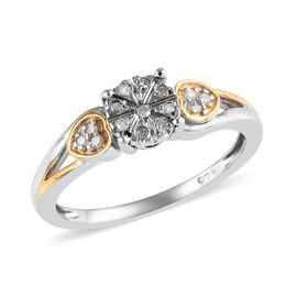 Diamond Cluster Ring in Platinum and Gold Plated Sterling Silver 0.10 Ct