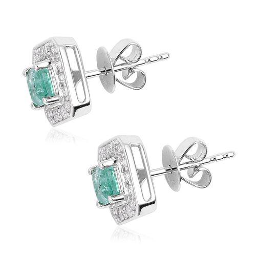 14K White Gold AA Boyaca Colombian Emerald (Oct), Diamond (I3/G-H) Stud Earrings (with Push Back) 1.010  Ct.