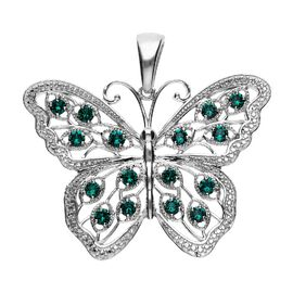 J Francis Crystal from Swarovski Emerald Colour Crystal (Rnd) Butterfly Pendant in Platinum Plated