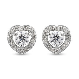 Moissanite  Main Stone With Side Stone Earring in Platinum Overlay Sterling Silver 0.50 ct  0.700  C