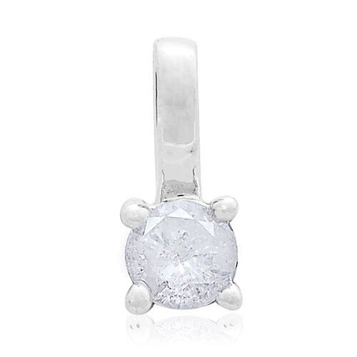 9K W Gold SGL Certified Diamond (Rnd) (I3/G-H) Solitaire Pendant 0.250 Ct.