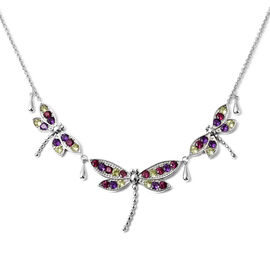 LucyQ Dragonfly Collection- Natural Hebei Peridot, Rhodolite Garnet and Amethyst Necklace (Size:16 w