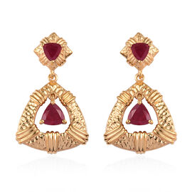 Designer Inspired AA African Ruby Earrings (with Push Back) in 14K Gold Overlay Sterling Silver 3.25