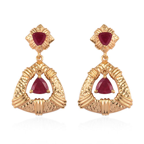 AA African Ruby Earrings (with Push Back) in 14K Gold Overlay Sterling Silver 3.25 Ct, Silver wt 7.0