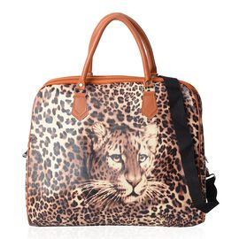 Leopard Pattern Weekend Travel Bag with Removable Shoulder Strap (Size 43x38x20 Cm) - Brown