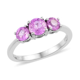 Limited Edition- RHAPSODY 950 Platinum AAAA Pink Sapphire (Rnd) Trilogy Ring (Size O) 1.350 Ct.