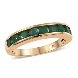 1 Carat Zambian Emerald Half Eternity Band Ring in Gold Plated Sterling Silver