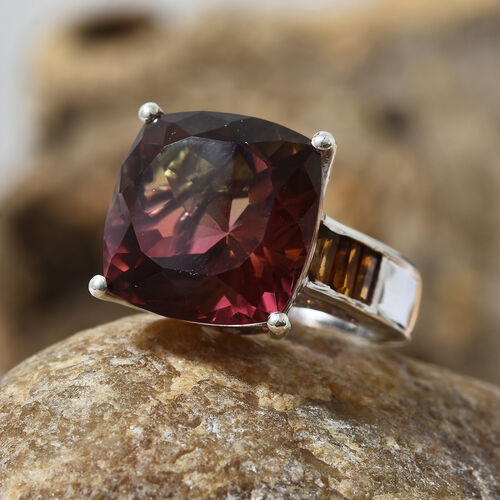 Finch Quartz (Cush 12.30 Ct), Madeira Citrine Ring in Platinum Overlay Sterling Silver 13.000 Ct, Silver wt 5.53 Gms.