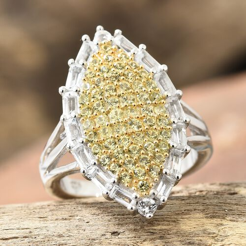 Chanthaburi Yellow Sapphire (Rnd), White Topaz Cluster Ring in Platinum and Yellow Gold Overlay Sterling Silver 2.000 Ct