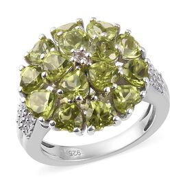 AA Hebei Peridot, Natural Cambodian Zircon Cluster in Platinum Overlay Sterling Silver 4.50 Ct.
