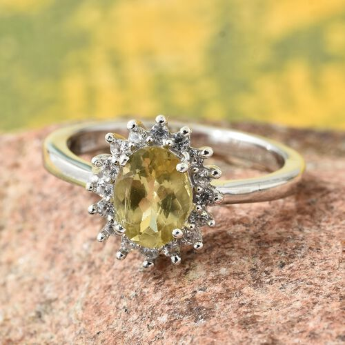 One Time Deal-Madagascar Golden Apatite (Ovl 1.05 Ct), Natural Cambodian Zircon Ring in Platinum Overlay Sterling Silver 1.250 Ct.