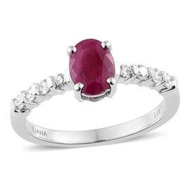 ILIANA 1.75 Ct AAA Burmese Ruby Diamond Solitaire Design Ring in 18K White Gold 3.58