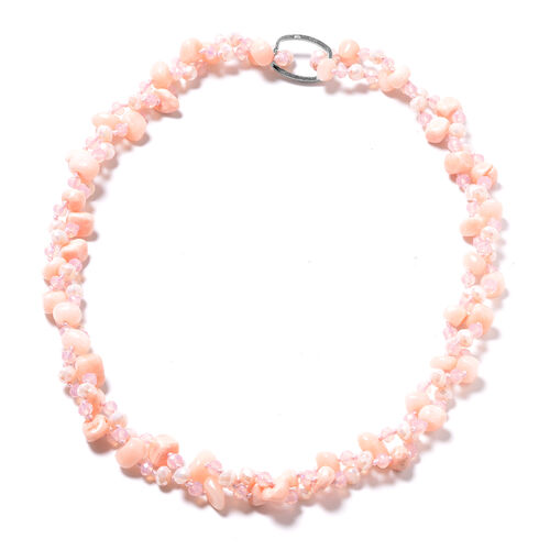 Peach Agate and Simulated Pink and Peach Sapphire Long Strand Beaded Necklace 61 Inch