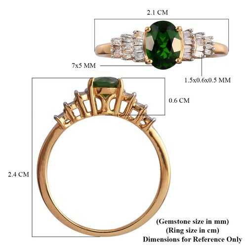 Russian Diopside and Diamond Ring in 14K Gold Overlay Sterling Silver 1.00 Ct.