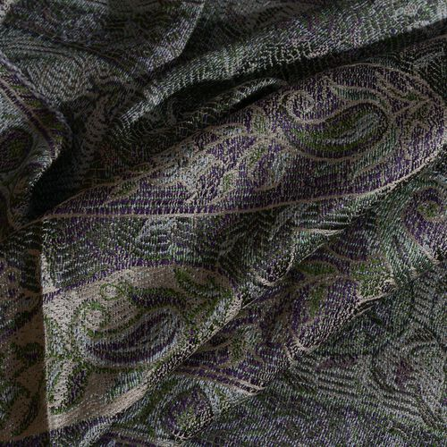 SILK MARK - 100% Superfine Silk Green and Multi Colour Paisley and Floral Pattern Jacquard Jamawar Scarf with Tassels (Size 160X35 Cm)