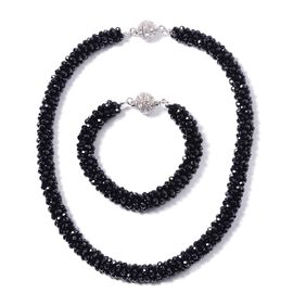 2 Piece Set Simulated Black Spinel Beads Necklace (Size 20) and Bracelet (Size 8) with Crystal Studd
