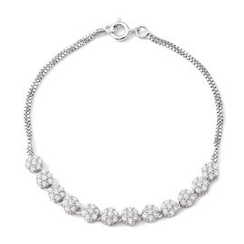ELANZA Simulated Diamond (Rnd) Bracelet (Size 7.5) in Rhodium Overlay Sterling Silver