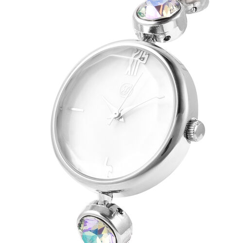 2 Piece Set - GENOA Japanese Movement Magic Colour Swarovski Crystal Studded Water Resistant Bracelet Watch and Adjustable Bolo Bracelet (Size 6-9.5) in Silver Tone