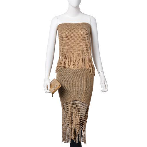 Golden Colour Scarf (Size 170x20 Cm) and Ladies Wallet