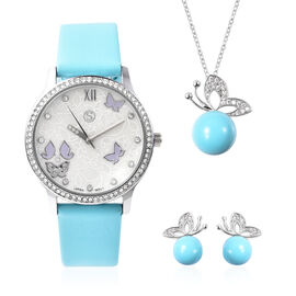 3 Piece Set - Simulated Diamond, Turquoise Shell Pearl and White Austrian Crystal Butterfly Watch wi