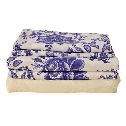 Blue and Cream Colour Chinese Porcelain Printed Microfiber Duvet Cover (Size 200X200 Cm), Fitted Sheet (Size 200X150 Cm) and Two Pillowcases (Size 70X50 Cm)