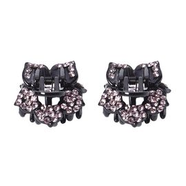 Set of 2 - Crystal Studded Small Hair Claw Clip - Light Purple