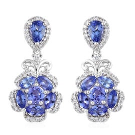 Tanzanite (Pear), Natural Cambodian Zircon Flower Earrings in Platinum Overlay Sterling Silver 4.000 Ct.
