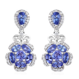 Tanzanite (Pear), Natural Cambodian Zircon Flower Earrings (With Push Back) in Platinum Overlay Ster