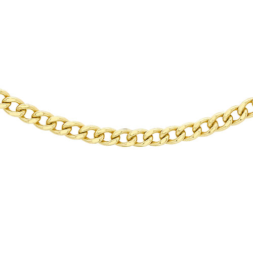 Italian Made - 9K Yellow Gold Curb Necklace (Size 20)